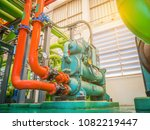 pipe and equipment of chiller... | Shutterstock . vector #1082219447