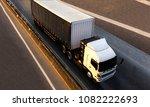 truck on highway road with... | Shutterstock . vector #1082222693
