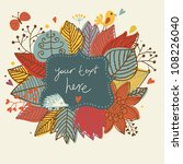 Autumn cute frame. Background with bird, hedgehog and butterfly - stock vector