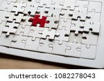close up of puzzle pieces on... | Shutterstock . vector #1082278043