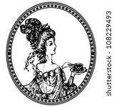 medallion  vintage lady with tea | Shutterstock .eps vector #108229493