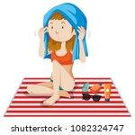 a bikini girl tanning on white...   Shutterstock .eps vector #1082324747