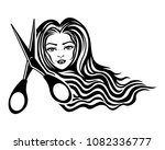 beautiful woman with long hair... | Shutterstock .eps vector #1082336777
