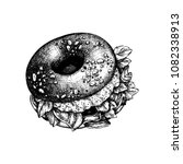 hand drawn bagel sketch. bread... | Shutterstock .eps vector #1082338913