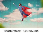 superman on sky, art collage - stock photo