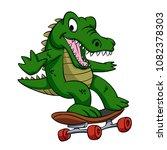 alligator  on the skate | Shutterstock . vector #1082378303