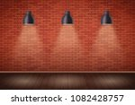 interior of red brick wall with ... | Shutterstock .eps vector #1082428757