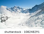 Landscape of Jungfrau Mountain Range in Switzerland - stock photo