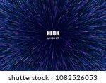 light rays. neon radial lines... | Shutterstock .eps vector #1082526053