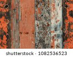 peeled and faded plank wooden... | Shutterstock . vector #1082536523