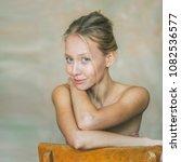 beautiful young blonde woman... | Shutterstock . vector #1082536577