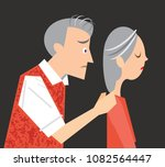husband comforting older wife... | Shutterstock .eps vector #1082564447