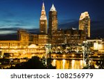 Cleveland, Ohio seen during blue evening - stock photo