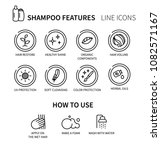 shampoo features icon set. hair ... | Shutterstock .eps vector #1082571167