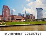 Cuyahoga River in downtown of Cleveland, Ohio - stock photo