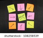 Diagram with sticker on blackboard. - stock photo