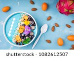 smoothie bowl with fruits ... | Shutterstock . vector #1082612507