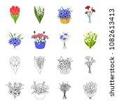 a bouquet of fresh flowers...   Shutterstock .eps vector #1082613413