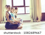 group of yoga girls gym  ... | Shutterstock . vector #1082689667