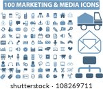 100 marketing & media icons set, vector - stock vector