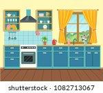 cozy interior kitchen in rustic ... | Shutterstock .eps vector #1082713067