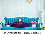 little princess baby in purple... | Shutterstock . vector #1082750537