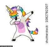 dabbing unicorn vector design | Shutterstock .eps vector #1082782307