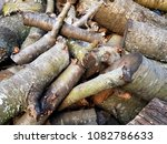 stack of old firewood | Shutterstock . vector #1082786633
