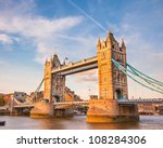 Bridge at sunset, London, UK - stock photo