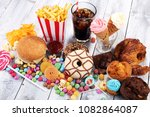 unhealthy products. food bad... | Shutterstock . vector #1082864087