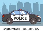 police car side view. patrol... | Shutterstock .eps vector #1082890127