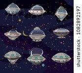set flying saucer  spaceship... | Shutterstock .eps vector #1082892197