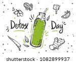 smoothie or detox cocktail day... | Shutterstock .eps vector #1082899937