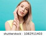 beautiful woman face portrait... | Shutterstock . vector #1082911403