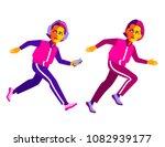 fitness girls. cartoon female... | Shutterstock .eps vector #1082939177