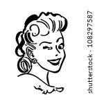 Winking Gal - Retro Clipart Illustration   Shutterstock vector #108297587