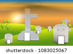 tombstone in the tomb landscape | Shutterstock .eps vector #1083025067