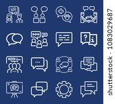 set of 16 chat outline icons... | Shutterstock .eps vector #1083029687