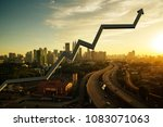 business charts with sunrise... | Shutterstock . vector #1083071063