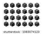 3d black isometric dice... | Shutterstock .eps vector #1083074123