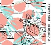 tropical  stripe  animal motif. ... | Shutterstock .eps vector #1083123683