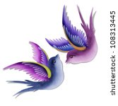 imagination swallows created by paper craft isolated on white background. - stock photo
