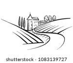hand drawn vector farmland... | Shutterstock .eps vector #1083139727