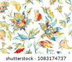 paisley seamless hand painted... | Shutterstock . vector #1083174737