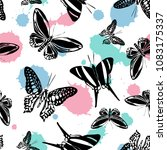 colorful seamless butterfly... | Shutterstock .eps vector #1083175337