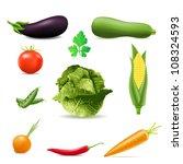 set of icons vegetables... | Shutterstock . vector #108324593