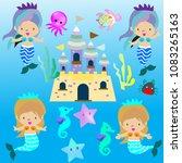 cute mermaid fairy tail on... | Shutterstock .eps vector #1083265163