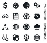 Small photo of Set of simple vector isolated icons clothes button vector, dollar sign, glasses, world, ferris wheel, personal information, gymnast rings, gears, atom core, moon, staff, circle graph, dicso, globe