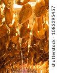 iberian cured hams stored in a... | Shutterstock . vector #1083295457