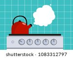 kitchen kettle on the gas stove.... | Shutterstock .eps vector #1083312797